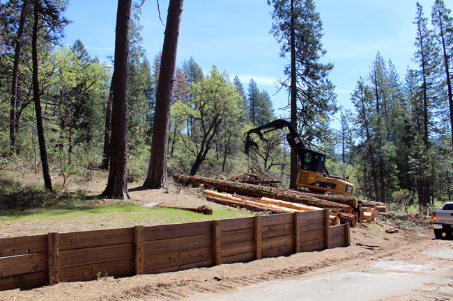 Backhoe piling logs at Sly Park Recreation Area May 4 2017