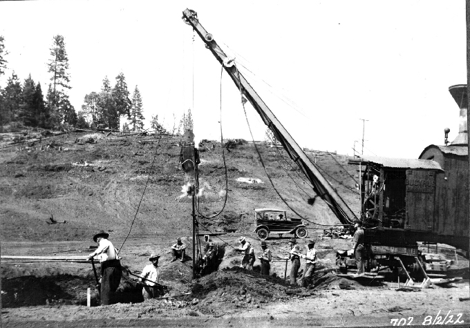 Forebay-Dam-driving-piling-in-cut-off-trench