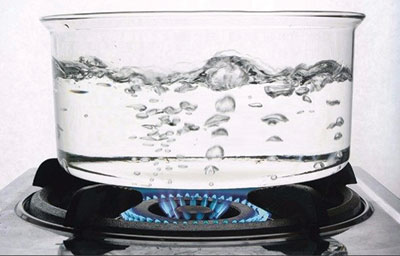 Boiling Water in Glass Pot