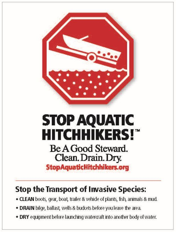 stop-aquatic-hitchhikers Boater responsibility to clean, dray, and dry.