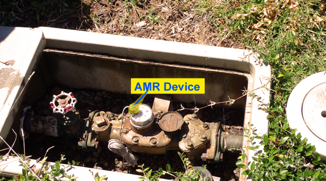 Meter in Box with Auto Meter Read Device (AMR) attached