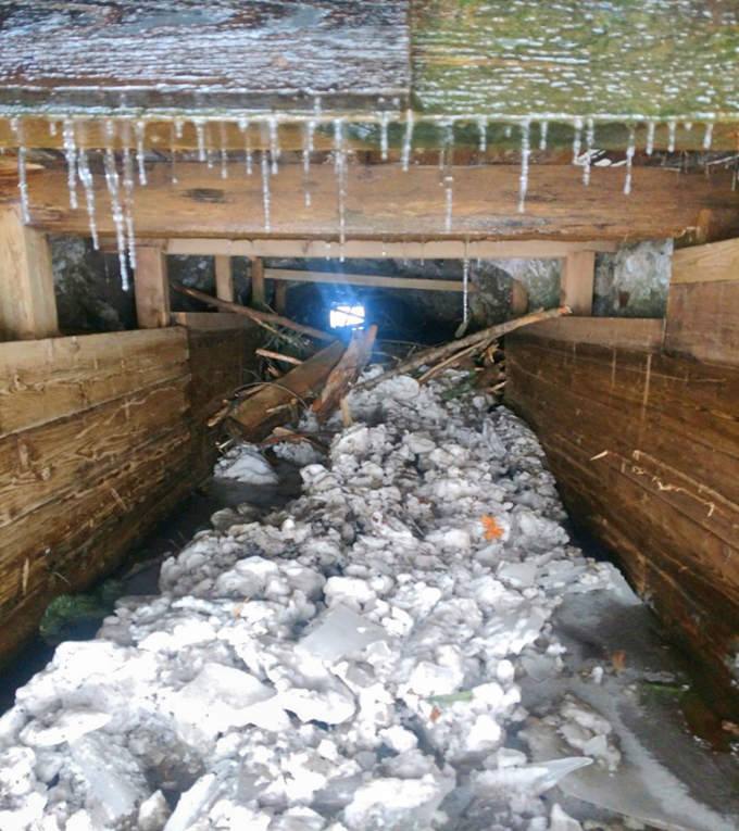 Pacific Tunnel filled with debris, ice, and snow after a tree became lodged.