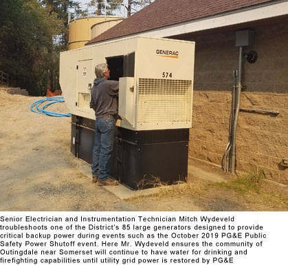 Senior Electrician and Instrumentation Technician Mitch Wydeveld troubleshoots one of the District's 85 large generators designed to provide critical backup power during events such as the October 2019 PG&E Public Safety Power Shutoff event.